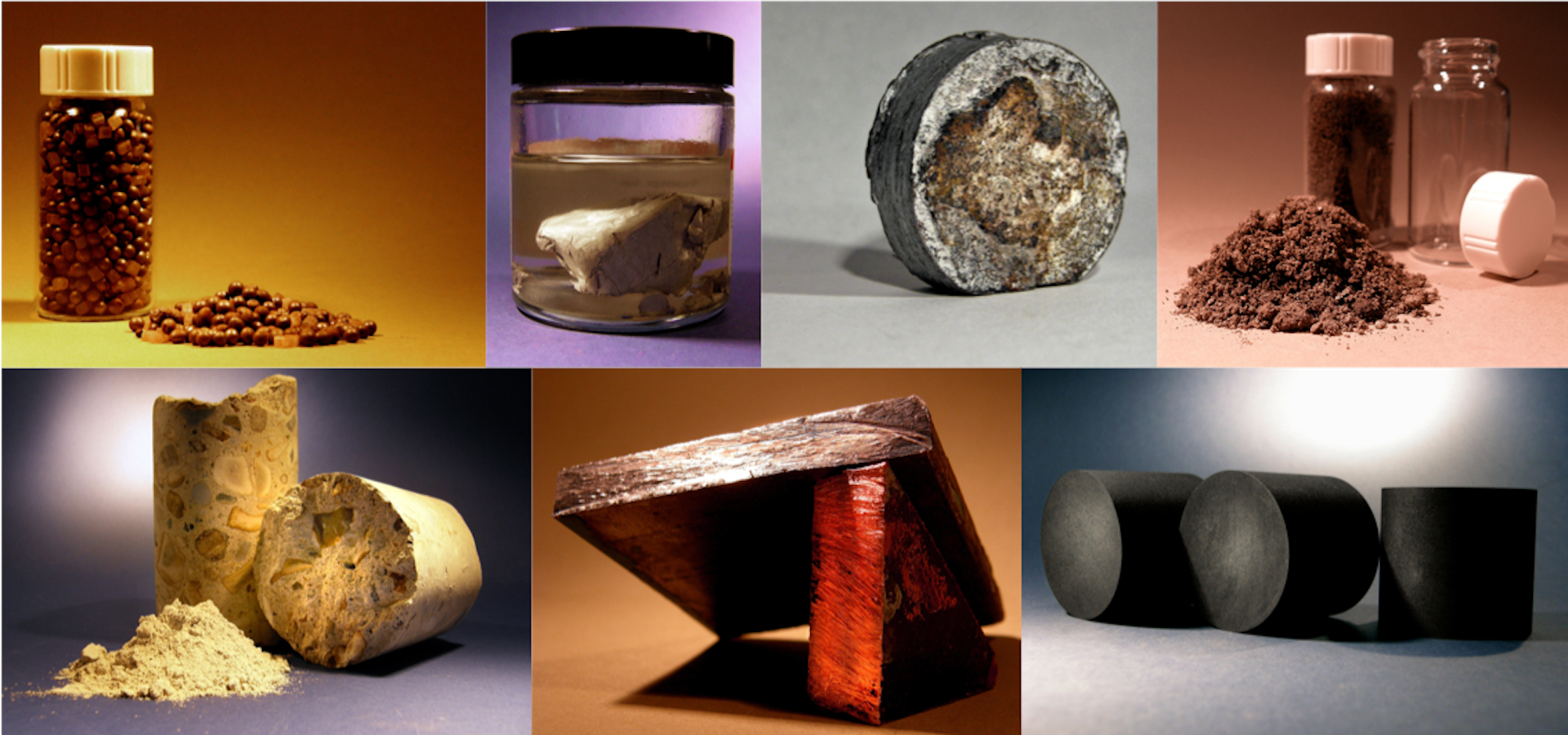 Composite image of various samples
