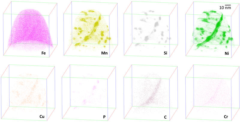 Atom Probe Tomography analysis of an ion-irradiated steel