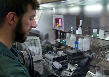 Researcher at work in lab